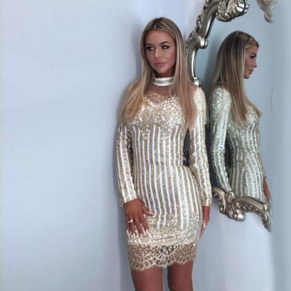 Sequined V Neck Sexy Dress in Gold ..