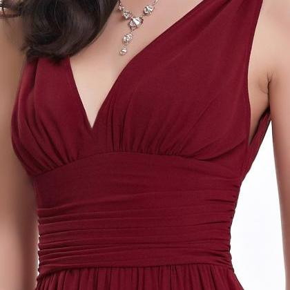 Elegant Backless Wine Red Long Chif..