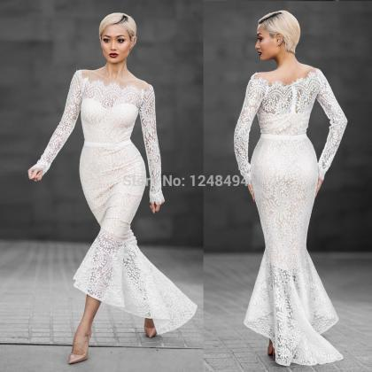 White Lace Bandage Mermaid Dress
