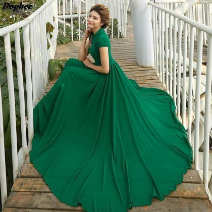 Gorgeous Green Chiffon Long Dress