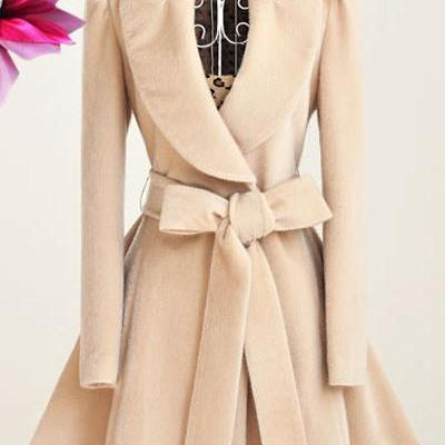 Elegant Wool Blend Winter Coats wit..