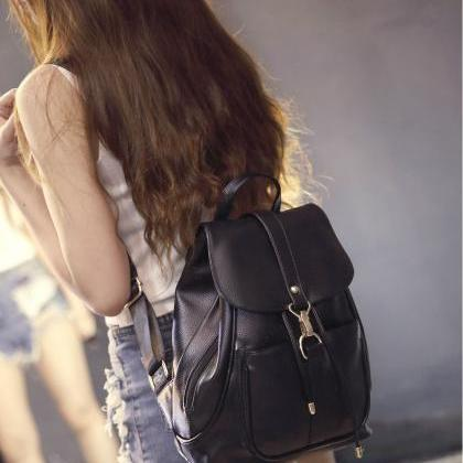 Black PU Leather Backpack Office an..