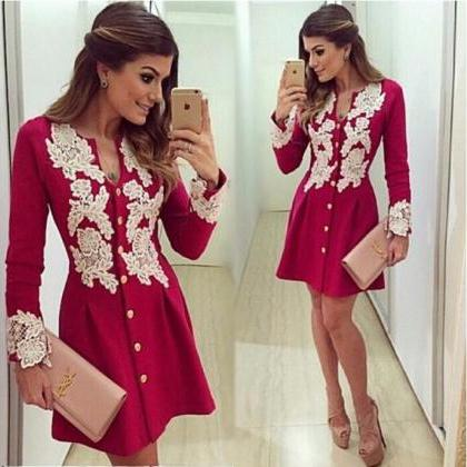 Button up Red Long Sleeve Dress