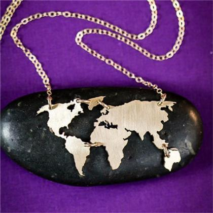 Wanderlust Earth Map Charmed Neckla..