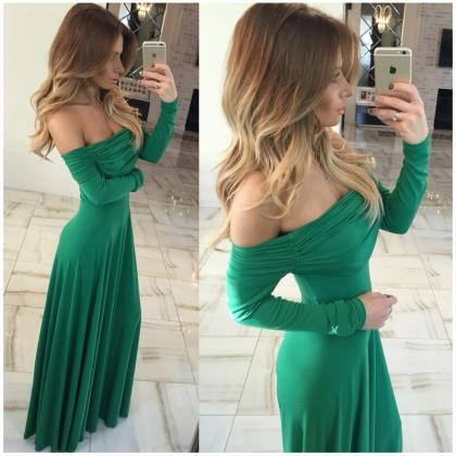 Green Off Shoulder Long Sleeve Dres..