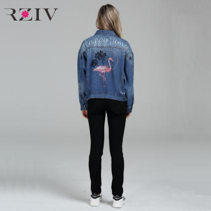 Flamingo Embroidery Double Pocket D..