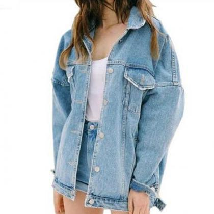 Oversized Denim Jacket in True Blue..