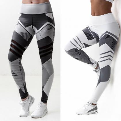 Grey and White High Waist Gym and Y..