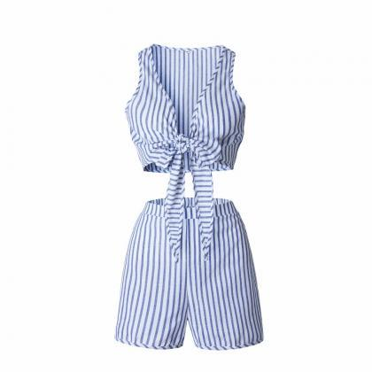 Striped Two Piece Set Blue Jumpsuit..