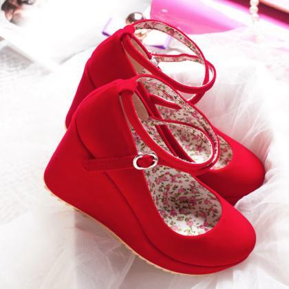 Cross Strap Wedge Shoes in Red and ..