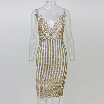 Gorgeous Sleeveless Sequined Knee L..