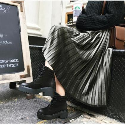 Beautiful Pleated Retro Long Velvet..