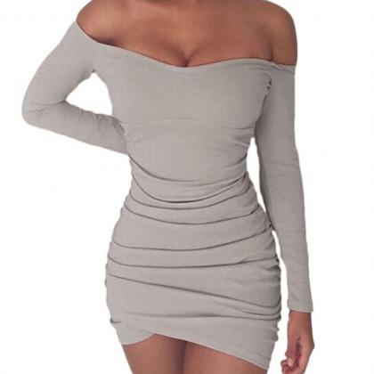 Off Shoulder Bodycon Long Sleeve Dr..