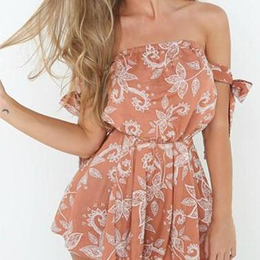 Off Shoulder Boho Floral Print Romp..