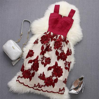 Red Floral Lace Design Bandage Part..