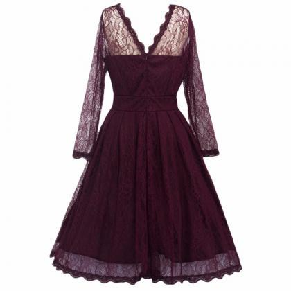 Elegant Lace Patchwork Ball Gown Lo..