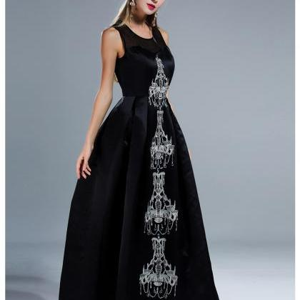 Classy Black Beaded Ball Gown Eveni..