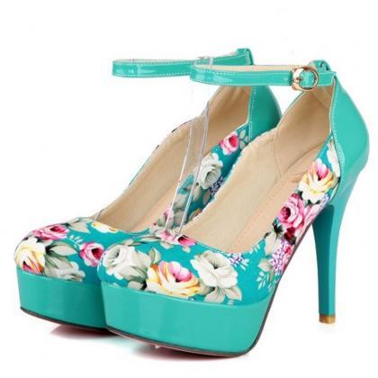Floral Printed High Heel Pumps with..