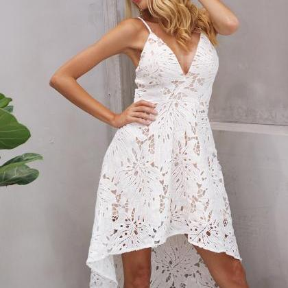 Sexy White Lace V Neck Irregular He..