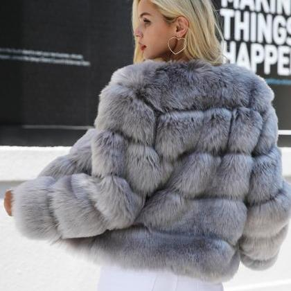 Chic Fluffy Faux Fur Coat