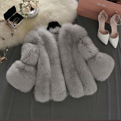 Classy Faux Fur Coats in Grey and P..