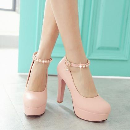 Gorgeous Pink pearl Beaded Ankle St..