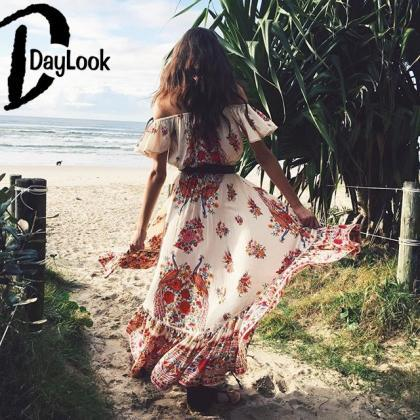 Off Shoulder Printed Bohemian Long ..