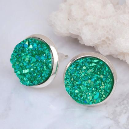 Elegant Druzy Crystal Stud Earrings