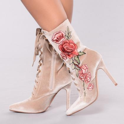 Pointed-Toe Floral Embroidery Lace-..