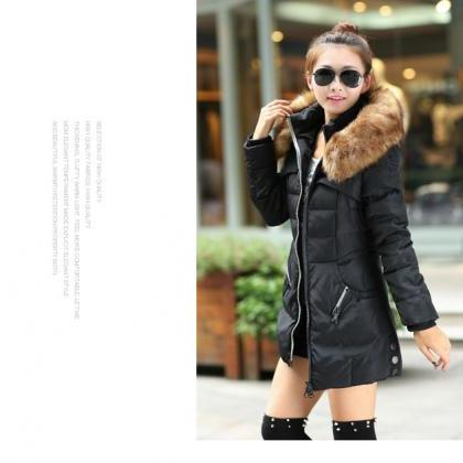 Black Faux Fur Warm Winter Coat