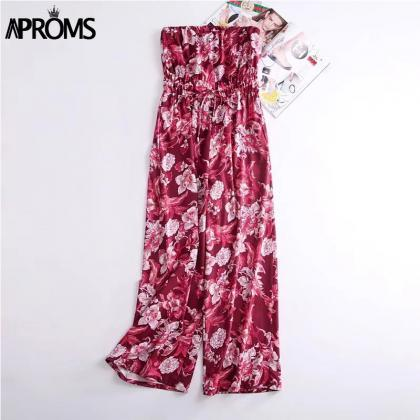 Red Strapless Floral Printed Chiffo..
