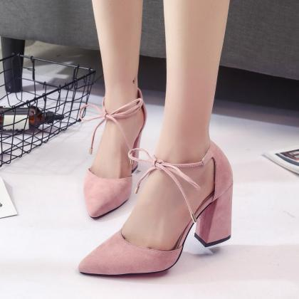 Cute Lace up Summer Suede High Heel..