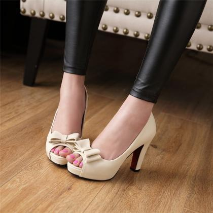 Sexy Peep toe Bow Design High Heels..