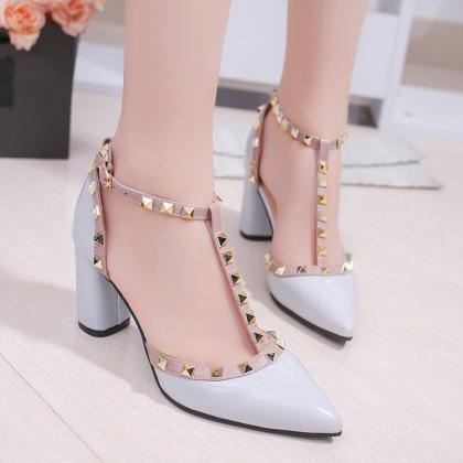 Sexy Pointed Toe Rivets High heels ..