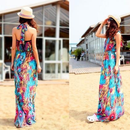 Boho Women Summer Printed Maxi Dres..