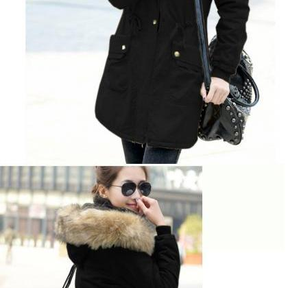 Women Faux Fur Hooded Parka Coat