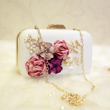 Leather Flower Inlay Elegant Clutch..