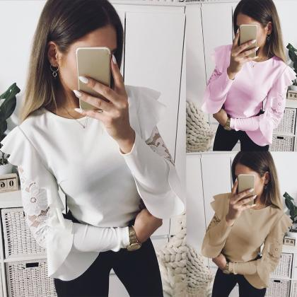 Ruffles Sleeve Women's Long Sleeve..