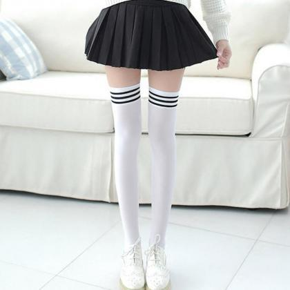 Over the Knee Striped Socks