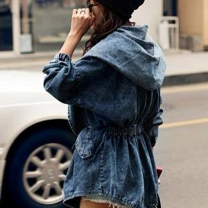 Chic Hooded Double Pockets Denim Ja..
