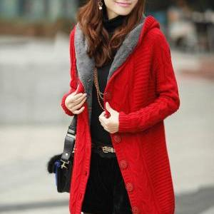 Long Sleeve Red Cotton Hooded Cardi..
