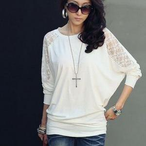 Bat wing Sleeve White Lace Top