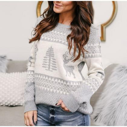 Women Knitted Warm Christmas Sweate..