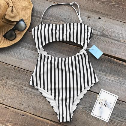 One Piece Summer Stripe Swimsuit
