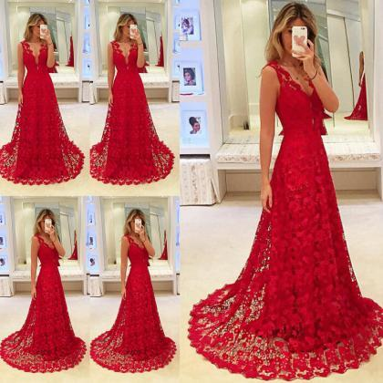 Long Lace Red Evening Dress