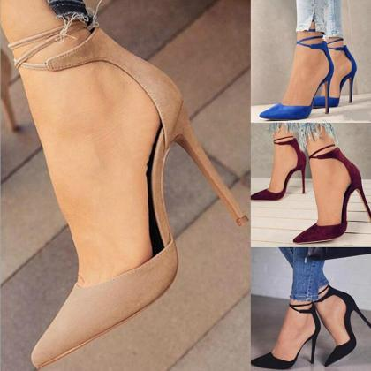Pointed Ankle Strap High Heels Shoe..