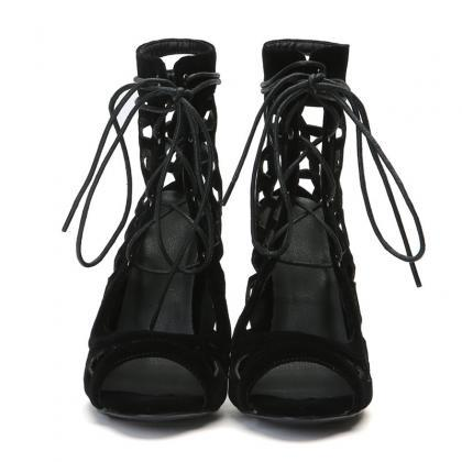 Black Summer High Heels Lace up San..