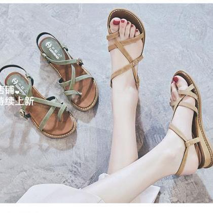 Chic Summer Roman Leather Flat Sand..