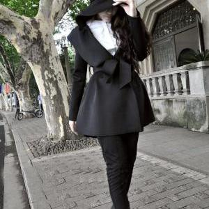 Black Hooded Trench Coat With Belt