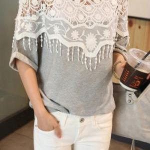 Cute Grey Top with Beautiful Lace D..